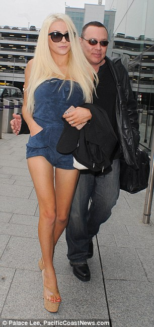 Courtney Stodden, 19, and 53-year-old Doug Hutchison are on their way back to Los Angeles following a lengthy stay in the UK