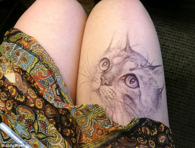 A Jody Steel drawing which she has done on her own thigh