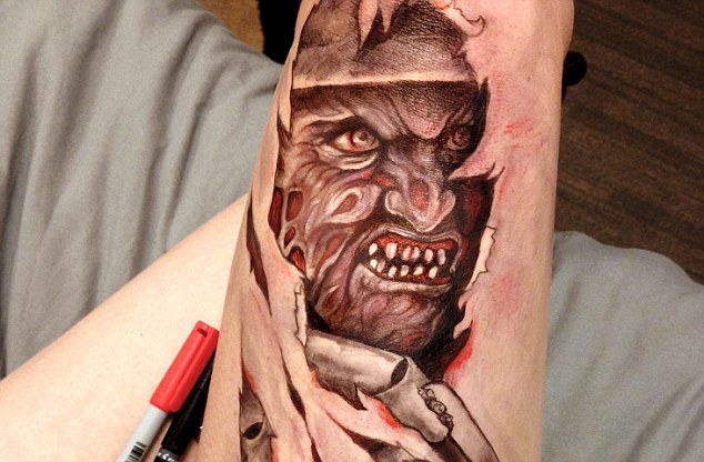 A picture by Jody Steel which she drew on her own leg