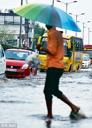 Delhi (pictured) and Haryana reported less rainfall than usual, despite the downpours elsewhere in the country