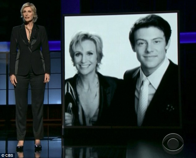 Heartfelt tribute: Glee star Jane Lynch during a segment on Sunday night's Emmys spoke lovingly of her late co-star Cory Monteith who died in July of an alcohol and heroin overdose