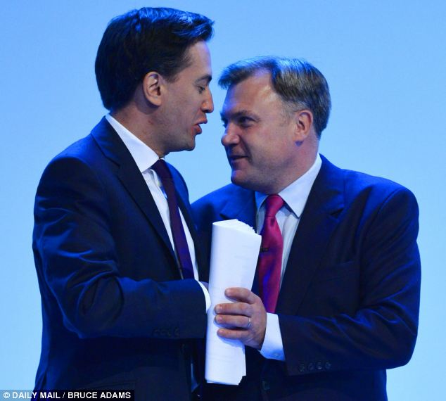 Economy: Mr Balls delivered his keynote conference speech today, with Mr Miliband looking on