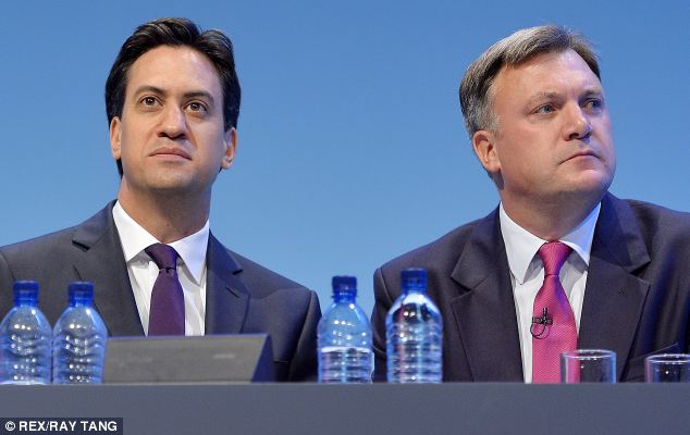 Two Eds: Miliband and Balls on the platform at the Labour conference, where talk is dominated by the McBride memoirs