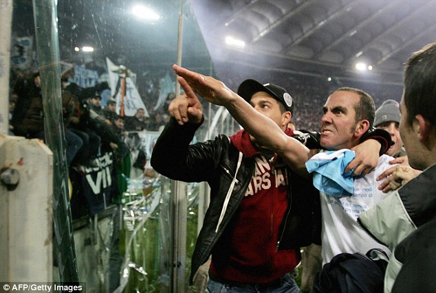 Roman salute: Di Canio earned a one-game ban in 2005 for gesturing towards Lazio fans during the Rome derby