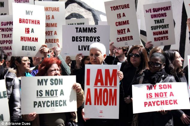 Protecting human rights: Mothers of men in isolation at Tamms protest outside the Illinois facility condemned by human rights watchers. Many of them provided photographs for inmates