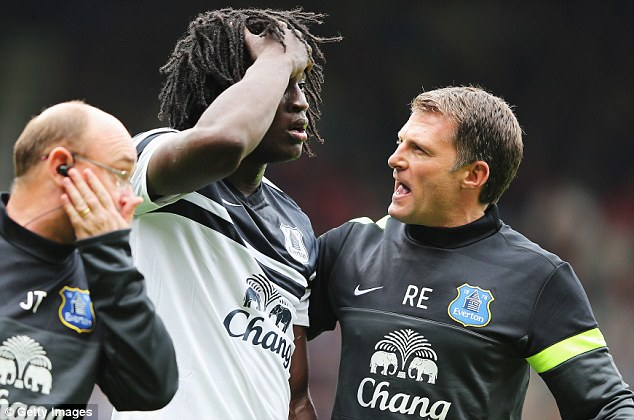 Knockout blow: Everton manager Roberto Martinez said striker Romelu Lukaku will be fit to play against Fulham in the Capital One Cup on Tuesday night