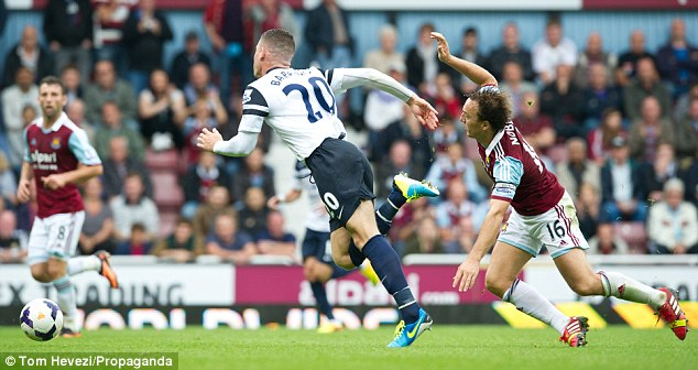 That's one way to stop him! West Ham's Mark Noble brings one Barkley burst to a halt