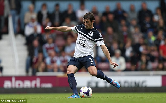 Inch perfect: Leighton Baines scores his side's first goal against West Ham
