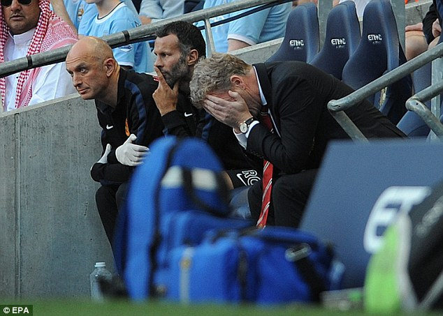 Beaten man: David Moyes got his tactics all wrong in the Manchester derby