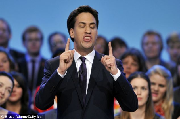 Pitch: Mr Miliband became increasingly animated as he delivered his speech to the packed conference hall