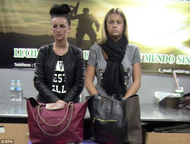 Arrest: Melissa Reid, right, and Michaella McCollum, left, when they were detained Jorge Chavez international airport in Callao, near Lima, Peru, allegedly carrying  11 kilograms of cocaine on their way to Madrid, Spain