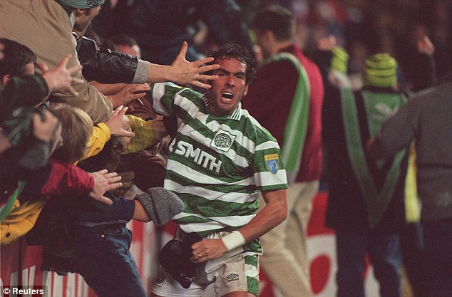 Full-blooded: Di Canio celebrates scoring for Celtic against Rangers in 1997