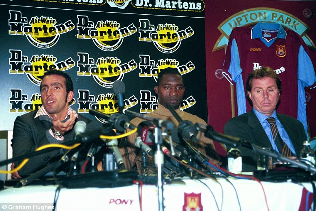 West Ham United's new signings Paolo Di Canio left, with his new team mate Marc-Vivien Foe