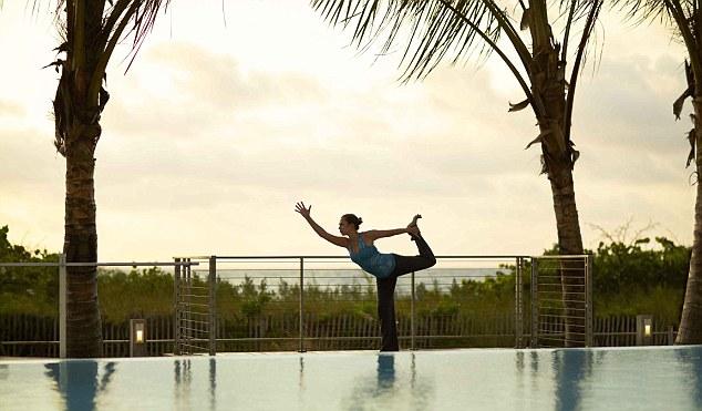 Pool-side yoga at Canyon Ranch