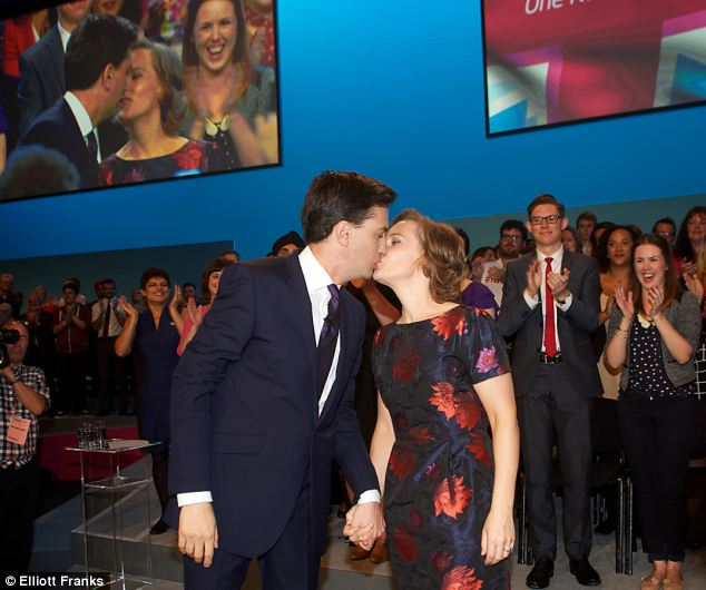 Kiss: Mr Miliband was joined on the stage by his wife Justine who has enjoyed a much higher profile at this year's conference