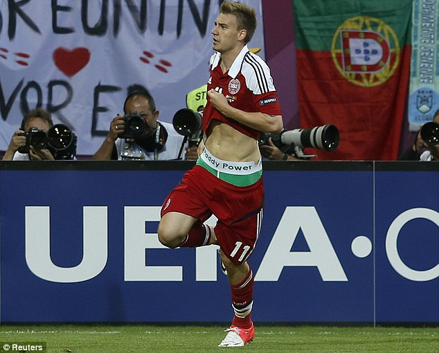 Trouble: Bendtner was banned and fined for wearing pants sponsored by a bookmaker at Euro 2012