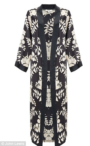 Graphic: Her range was inspired by prints of leaves and Japanese designs (robe £145)