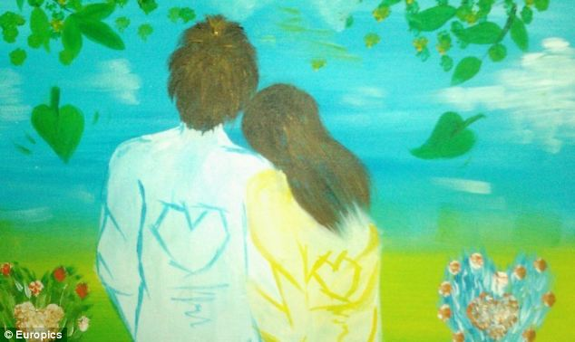 Emotive: The couple's son has painted pictures showing his parents, which have been disseminated over the internet