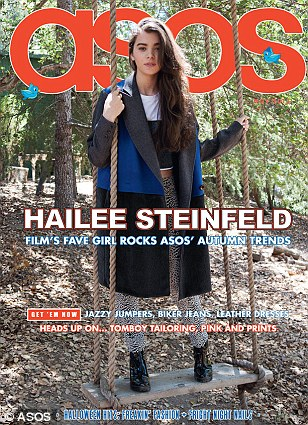 Appearing on the cover in a contrast colour block coat, leopard jacquard skinny trousers and Chelsea ankle boots (all ASOS) Haliee balances on a swing in an Autumnal wood
