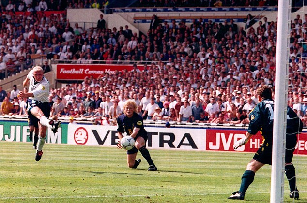 English hero: Gazza leaves Colin Hendry for dead to score against Scotland during Euro 96