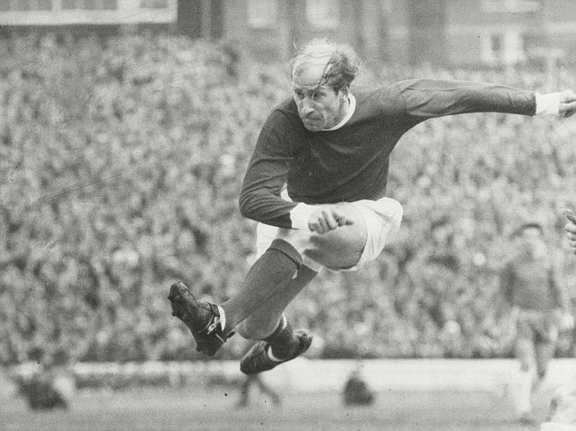 Good luck saving that: Bobby Charlton unleashes one of his famous cannonball shots