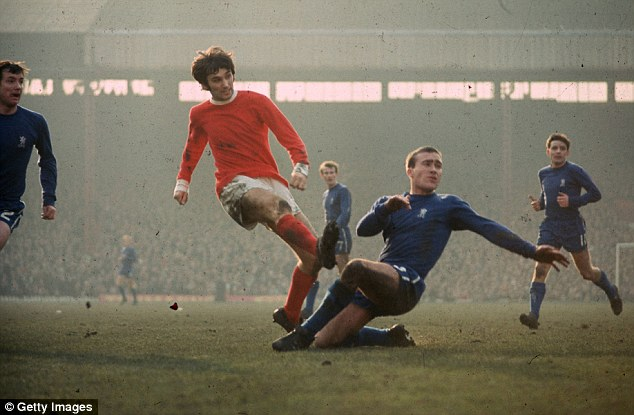 Simply the Best: Manchester United's original wing wizard gets in a shot past Chelsea's Ron Harris in 1971
