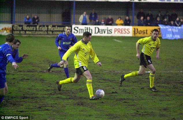 Still got it: Chris Waddle weaves his way through the Leek midfield while playing for Worksop