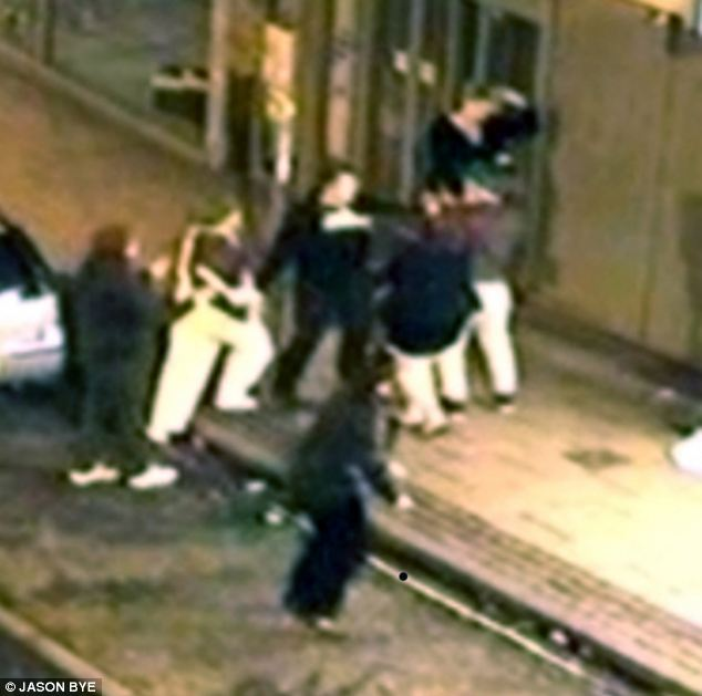 CCTV of Louis Gelina and Matthew Wright attacking a  man in Norwich while dressed as Oompa Loompa's