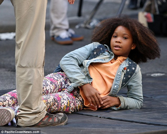 Rest time: The 10-year-old took a rest at times in between takes