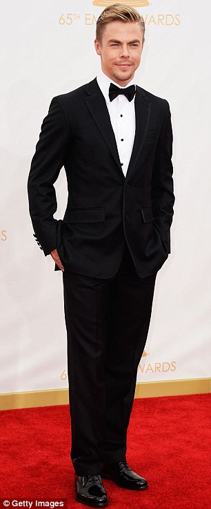 The hot new couple: Nina Dobrev is said to be dating Derek Hough, the DWTS star pictured on Sunday at the Emmys