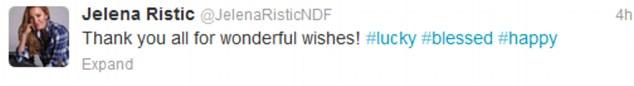 Jelena Ristic tweet