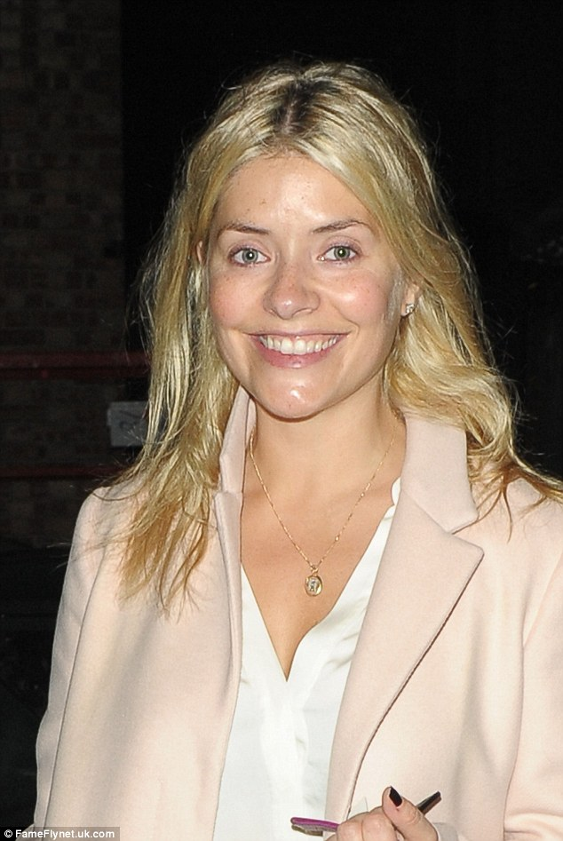 Holly Willoughby leaves Riverside Studios fresh-faced and make up-free after recording an episode of 'Celebrity Juice' in London
