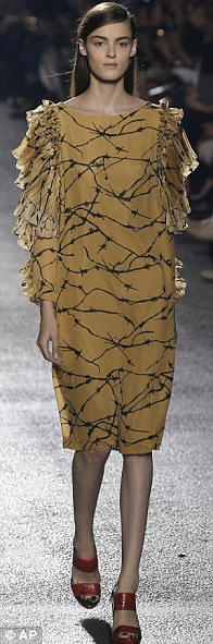 Tough chic: A model in Dries van Noten's barbed wire print