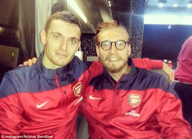 Going home: Bendtner posted this picture of himself with Thomas Vermaelen after the game