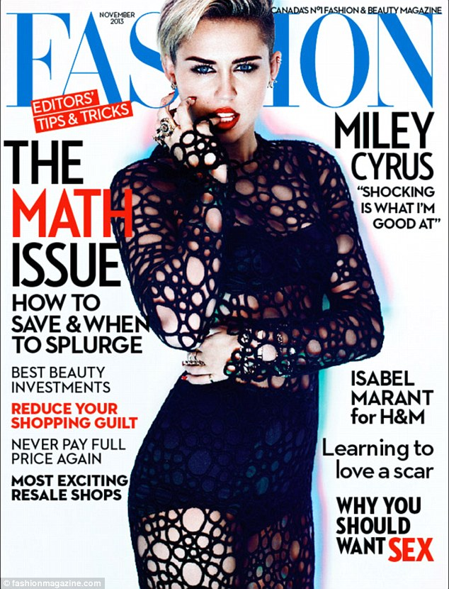 Shock value: Miley Cyrus reveals more of that flinty personality as she takes the cover of Fashion magazine's November issue that headlines her quote: 'Shocking is what I'm good at'