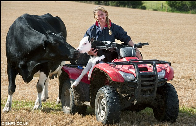 Home farm: Harriet, 25, is in charge of the day to day running of the family farm