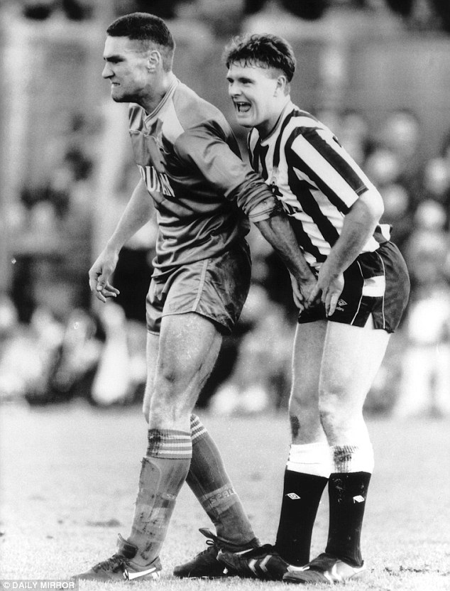Vice like: Vinnie Jones has a squeeze of Paul Gascoigne back in 1988