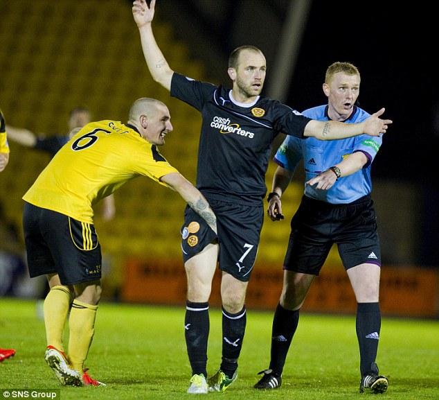 Firm grip: Martin 'Jimmy' Scott gives James McFadden a hand during Motherwell's 2-1 win over Livingston
