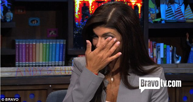 Choked up: Teresa Giudice wipes a tear away after discussing the fraud charges against her on a forthcoming episode of Watch What Happens Live!