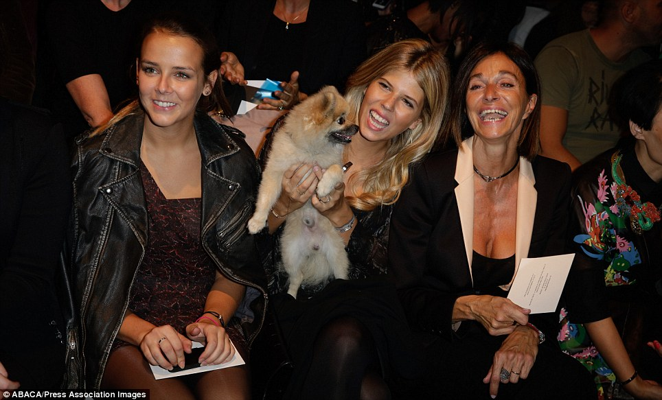 Royal approval: Princess Stéphanie of Monaco's daughter Pauline Ducruet was accompanied by her adorable pet dog for her front row appearance at Barbara Bui