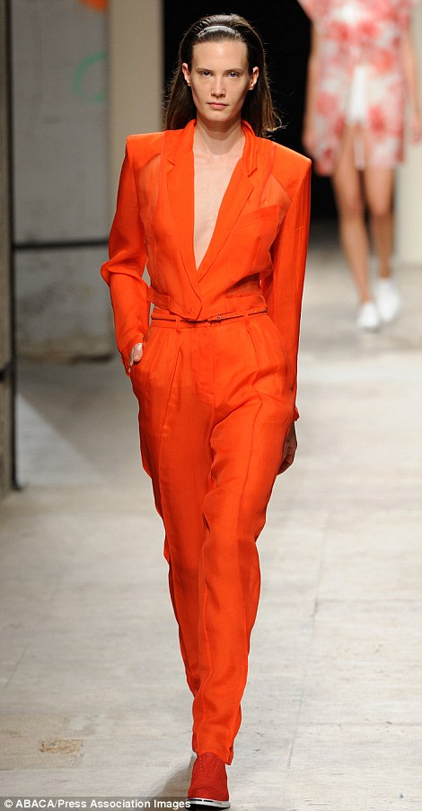 Bright stuff: Bui enlivened her largely neutral palette with the odd jolt of bright orange