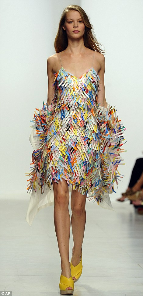 A woven plastic and silk dress at Chalayan