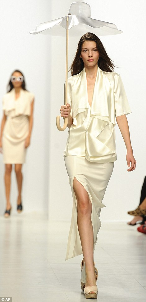 A silk jacket and skirt on the runway at Chalayan