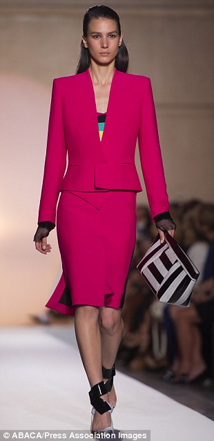 Think pink: Bright pink has been a popular choice this month and Rouland Mouret also embraced it