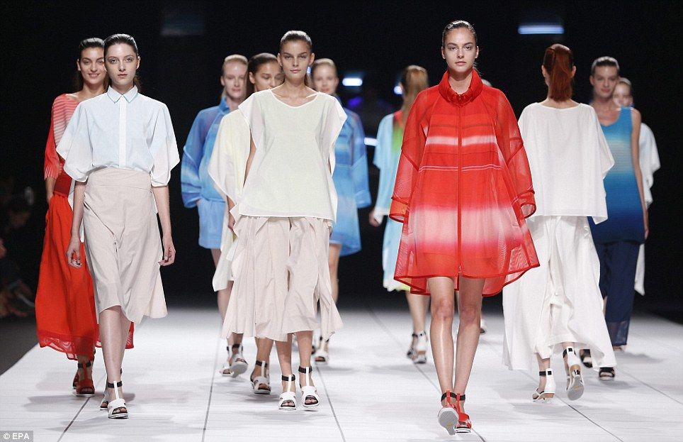 Best in show: Japanese veteran Issey Miyake offered an assured collection that proved to be one of the highlights of day four at Paris Fashion Week