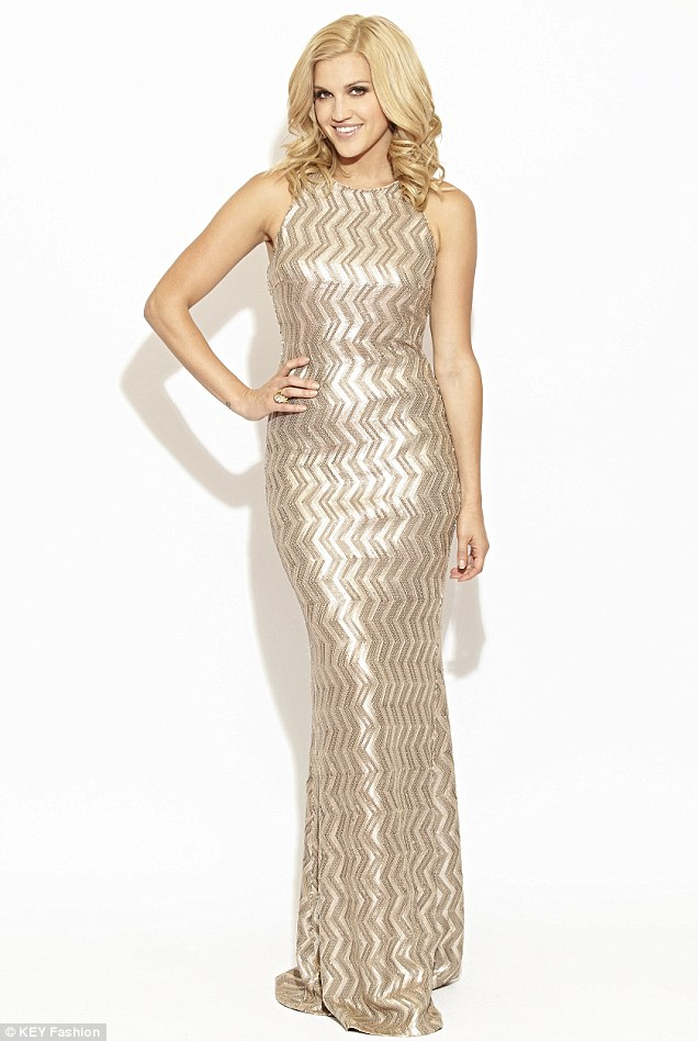 Sparkle: Ashley is going to give her celebrity friends her dresses to wear and would love to see Kate Moss donning her designs (Lightening, £220)