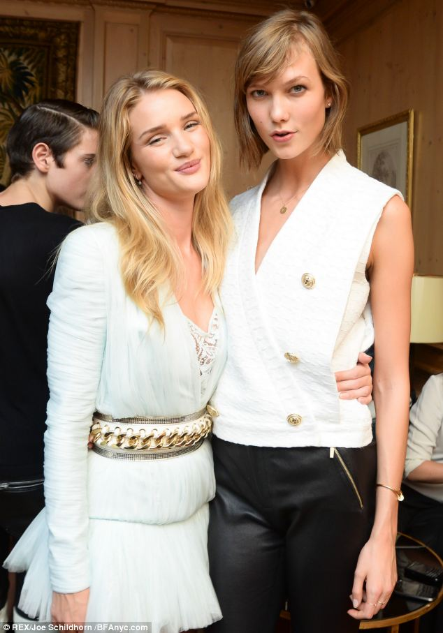 Rosie Huntington-Whiteley and Karlie Kloss  forget about having to strut on the catwalk at the Balmain Show after party