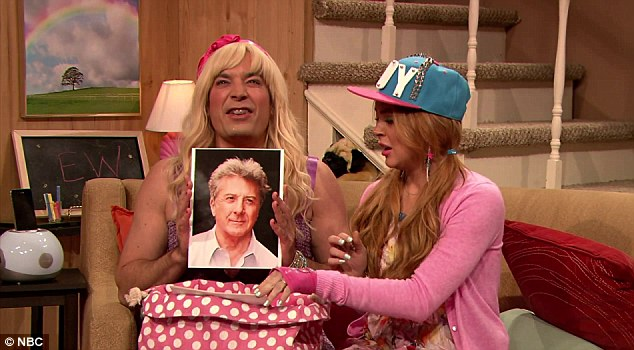 'Cute!' Lindsay's character Stephanie drools over a picture of Dustin Hoffman