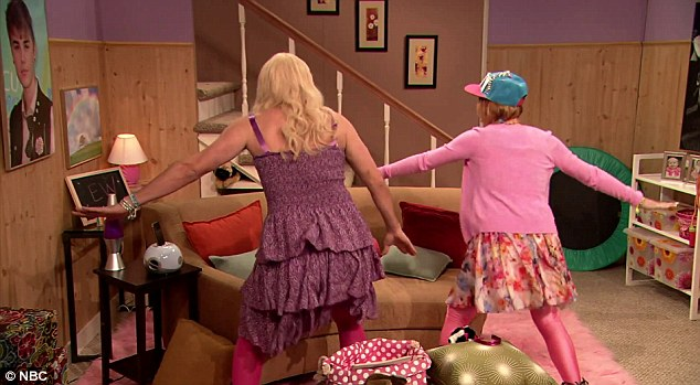 Coordinated: The pair get up and dance after Lindsay declares that 'twerking' is out