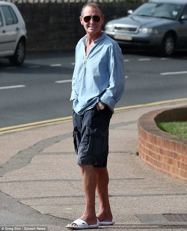 He's a fighter: Paul Gascoigne smiled as he enjoyed the last of the warm weather near his home in Bournemouth